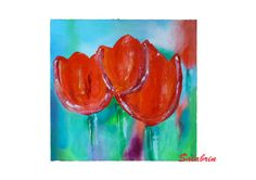 Acrylmalerei Blumen - Kunst Bild Rote Tulpen, Acrylbild in 50 x 50 cm - ein Designerstück von Salabrin bei DaWanda