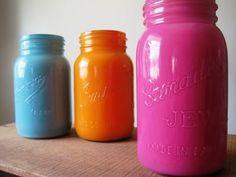 milkybeer: Painted glass jars