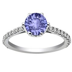 1.34 Ct Round Blue Tanzanite White Topaz 14K White Gold Engagement Ring -- Quickly view this special  product, click the image : Engagement Rings