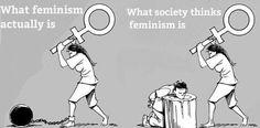 Lo que el feminismo es Vs.  lo que la sociedad piensa que es.