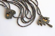 Melitina Balabin ~A BUTTERFLY'S MEMORY, #necklace, 2011, silver, patina, leaf gold, freshwater pearl | melitina.balabin.net