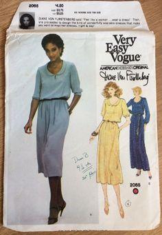 Vintage Vogue American Designer Original Diane Von Furstenberg Pattern 2065 #VoguePatterns