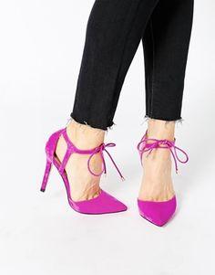 02dab44736d6c1 Zapatos altos con cordones PLAY THE GAME de ASOS Hot Pink Heels