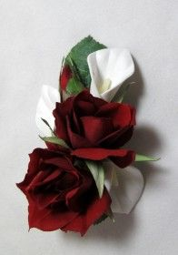 Red rose and white calla lily hair flower