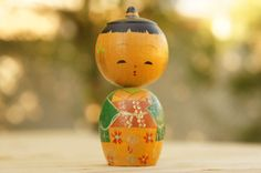 Vintage 50s-60s Handpainted Japanese Wooden Kokeshi Doll Peg Doll Geisha Collectable Doll