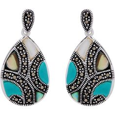 Malin + Mila Silverplated Marcasite Multi-gemstone Teardrop Earrings ($22) ❤ liked on Polyvore featuring jewelry, earrings, blue, silver plated earrings, gemstone jewelry, blue gemstone jewelry, teardrop shaped earrings and teardrop earrings