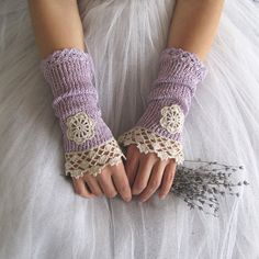 Related Objects like Nostalgia Lengthy Crochet Fingerless Lace Bridal Gloves in Lilac and Ivory Cream on Etsy Knitting Patterns Crochet Gloves Pattern, Lace Knitting Patterns, Crochet Mittens, Fingerless Mittens, Knit Crochet, Crochet Hats, Lace Gloves, Knitted Gloves, Lace Bridal