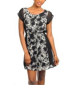 Take a look at this Black & White Cap-Sleeve Dress by 24|7 Frenzy on #zulily today!