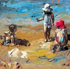 """Daily Paintworks - """"Childs Play"""" - Original Fine Art for Sale - © Claire McCall Illustration Photo, Illustrations, Original Artwork, Original Paintings, Beach Artwork, Impressionist Paintings, Oil Paintings, Contemporary Paintings, Painting & Drawing"""