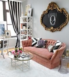 Love the cameo inside of the old mirror frame with chalkboard paint