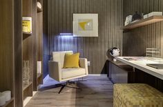 This is my I just love the dark greys and yellows. Very inspiring. Life Space, City Living, Corner Desk, The Unit, Spaces, Dark, Interior, Table, Room
