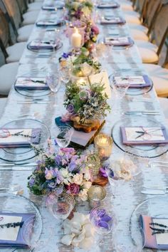 Lavender inspired tablescape: http://www.stylemepretty.com/california-weddings/los-angeles/2015/04/21/unique-library-wedding-in-los-angeles/ | Photography: Docuvitae - http://www.docuvitae.com/