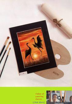 'W I N G S' silhouette oil painting . Birds, Silhouette, Oil, Sunset, Painting, Color, Painting Art, Colour, Bird