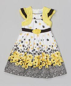 Look at this #zulilyfind! Yellow & Black Poppy Ribbon Tie Dress- Girls by Donita #zulilyfinds