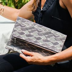 Organic Cotton/Hemp Foldover Clutch Bag. Ethically Made in America by Bevy Goods (bevygoods.com)