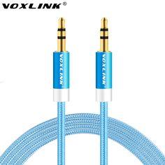 VOXLINK 1 Mt/2 Mt/3 Mt/5 Mt Aux Kabel 3,5mm bis 3,5mm Jack Audio Kabel Gewinde Bradied Stecker-stecker Stereo Hilfskabel Für Auto IPhone 6