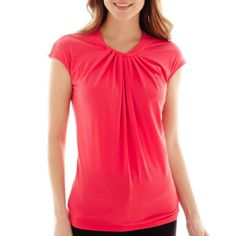 1ee0ed183cc Worthington® Short-Sleeve Roundneck Twist-Front Top found at
