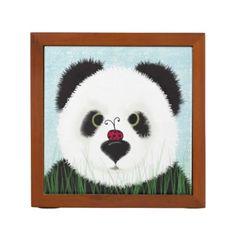 The Panda Bear And His Visitor Desk Organizer #zazzle #pencilbox #organizer #panda #bear