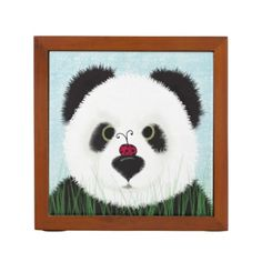 The Panda Bear And His Visitor Desk Organizer.  $30.95 Created by #OneArtsyMomma