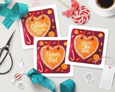 Printable Christmas Cards, Printable Cards, Christmas Cookies, Merry Christmas, Heart Artwork, Sunflower Cards, Happy New Year Cards, Postcard Template, One Design