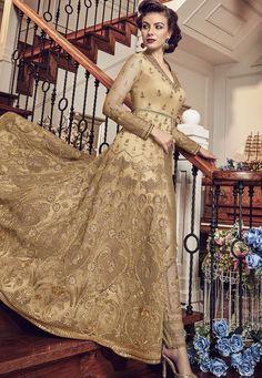 325f3f9babab Gold Net Embroidered Lehenga Style Anarkali Suit 5804C