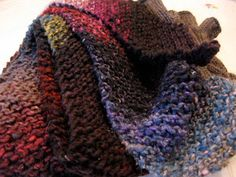 Bias Garter Stitch Scarf by Lula Louise, free pattern, soooo easy, gorgeous knit in Noro Iro.
