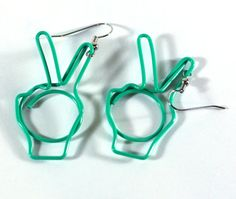 Repurposed Paper Clip Charm Earrings - Peace hand earrings - sign language - metal wire earrings - Bunny Ears Fingers-  Green on Etsy, $4.00