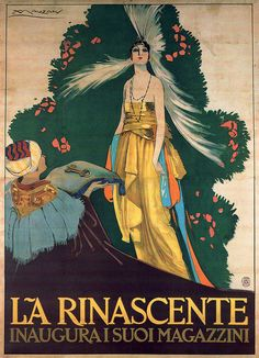 Vintage Ad - srt by Achille Luciano Mauzan, La Rinascente department store opening, 1917