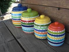 Custom Set Of 3 Kitchen Canisters   Pick Your Colors And Patterns   XL, L,  M   Rainbow Stripes   Colorful Storage Jars