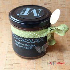 Herzschlüssel: Schokolade macht nicht dick, ............................. Stempel, Alexandra Renke, Erlebniswelt, Big Shot, Etiketten, #DIY, selbstgemacht, Thermomix, Schokoaufstrich, Stampin Up