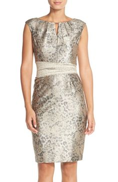 Ellen Tracy Metallic Jacquard Sheath Dress (Regular & Petite) available at #Nordstrom