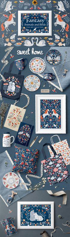 FANTASY ANIMALS AND BIRDS by Irina Skaska on @creativemarket
