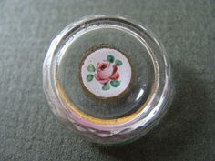 Antique Glass Button with painted rose by inspiredwithbuttons