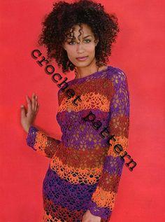 Verano Multicolor vestido Crochet Patrón con diagramas y escrito instrucciones sólo en archivos PDF