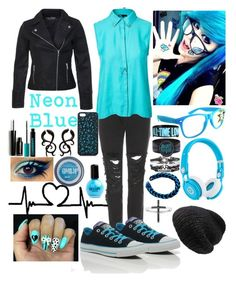 """~Electric Emo Blue #2~"" by raianna-starz ❤ liked on Polyvore featuring Christopher Kane, Minimum, Beats by Dr. Dre, Miss Selfridge, Maybelline, Forever 21, Urban Decay, SELECTED, Converse and Mes Demoiselles..."