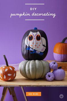 Our absolute best, totally essential pumpkin painting tips - Think. Black Pumpkin, Diy Pumpkin, Pumpkin Crafts, White Paint Pen, White Acrylic Paint, White Pumpkins, Painted Pumpkins, Pumpkin Painting, Pumpkin Carving