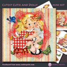 Cutest Cutie and Dolly Decoupage Mini Kit on Craftsuprint designed by Isabel Neves - Cutest Girl, Dolly, Butterflies, Bird.5 Sheet Mini Kit includes:* Card Front * Topper Decoupage* Decoupage Pieces* Several Sentiment Tags* Gift / Tag Tags (4 styles)** Sentiment Tags Read:For Someone Special, Happy Birthday, For You!, Wishes Come True, On Your Birthday, Your Special Day, It's Your Birthday, Cutest Cutie !, Huss