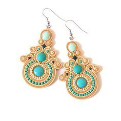 Turquoise Earrings Beige Earrings Big Earrings Huge by omifimo Black And White Earrings, Striped Earrings, Prom Earrings, Turquoise Earrings, Dangle Earrings, Chandelier Earrings, Stainless Steel Earrings, Polymer Clay Earrings, Polymer Clay