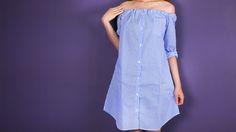Transformez la chemise de votre homme en une petite robe estivale pour les vacances. Trends, Shoulder Dress, Sewing, Casual, Dresses, Images, Diy, Google, Fashion