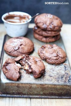 The most amazing Nutella and Salted Caramel Stuffed Double Chocolate Chip Cookies!!