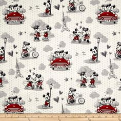 Disney Mickey & Minnie Mouse Vintage Scenes of Romance Cotton Quilting Fabric 1/2 YARD