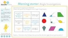 Properties of Recognise angles as a property of shape. Recognise right angles. Identify acute and obtuse angles. Compare shapes based on their angles. Reason about polygons based on their angles. Maths Starters, Primary Maths, Quick Draw, Greater Than, Math Skills, Home Schooling, Describe Yourself, Investigations, Mathematics
