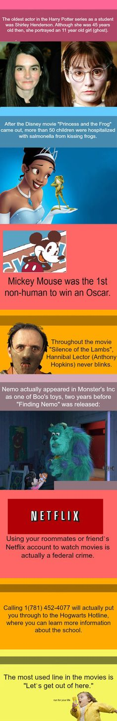 Some useless movie facts… not really funny but I don't know where else to pin it.
