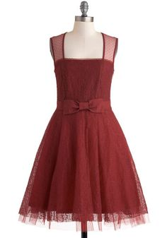 Entrancing in Scarlet Dress, #ModCloth Dark red, lace, a BOW, I think the only thing that could make me like this dress more is if it had pockets! ;)