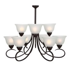 Add elegant lighting to your home with this chandelier from Yosemite Home Decor. This sturdy steel and bronze chandelier holds nine frosted white glass shades that diffuse and soften the light.