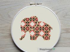 cross stitch pattern elephant elephant silhouette by Happinesst Folk Embroidery, Cross Stitch Embroidery, Cross Stitch Patterns, Elephant Cross Stitch, Cross Stitch Animals, Bordado Popular, Elephant Silhouette, Elephant Elephant, Types Of Stitches