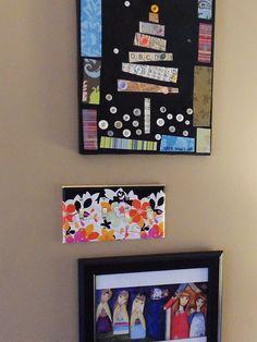 Canvas, scrapbook paper, and decoupage medium
