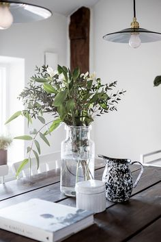 Vase and greenery