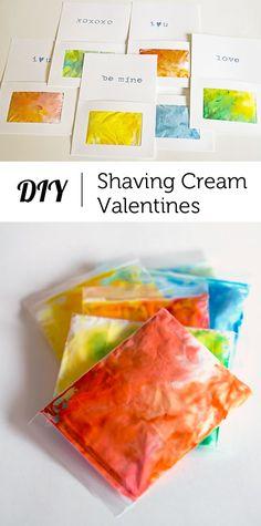 "An interactive sensory Valentine that allows kids to ""draw"" on pretty shaving cream art"