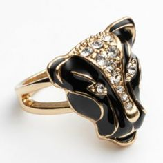 Jennifer Lopez Gold Tone Simulated Crystal Panther Ring